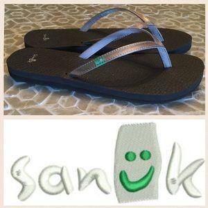 Sanuk Yoga-mat flip-flop sandals in brown/gold